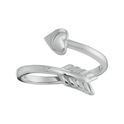 Personalized Sterling Silver Bypass Arrow Initial Ring