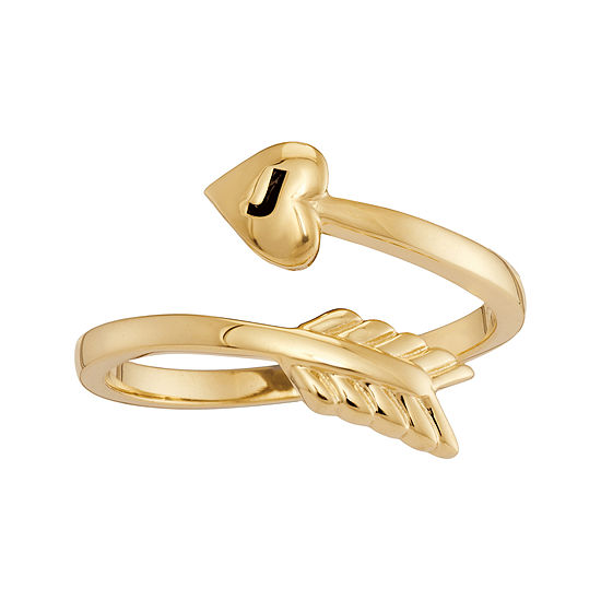 Personalized 10K Yellow Gold Bypass Arrow Initial Ring