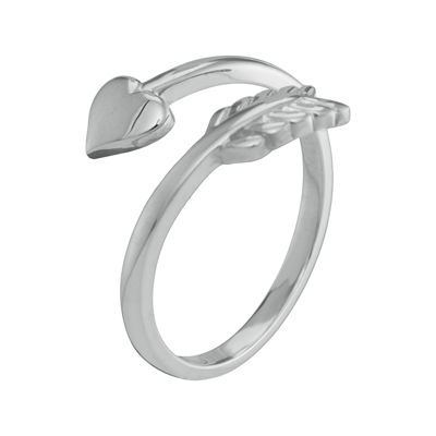 Personalized 10K White Gold Bypass Arrow Initial Ring