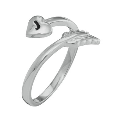 Personalized 14K White Gold Bypass Arrow Initial Ring