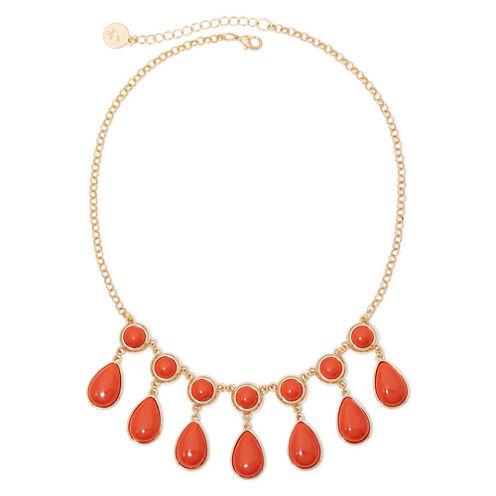 Liz Claiborne® Gold-Tone Orange Stone Shower Necklace