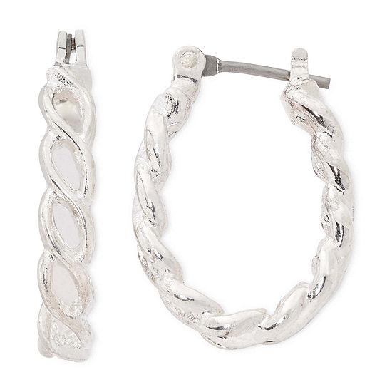 Liz Claiborne® Silver-Tone Small Rope Hoop Earrings