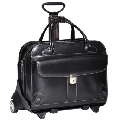 "McKleinUSA Lakewood 15.4"" Leather Fly-Through™ Checkpoint-Friendly Detachable -Wheeled Laptop Briefcase"