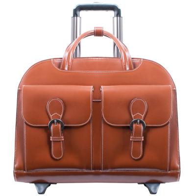 """McKleinUSA Davis 15.4"""" Leather Wheeled Laptop Briefcase"""