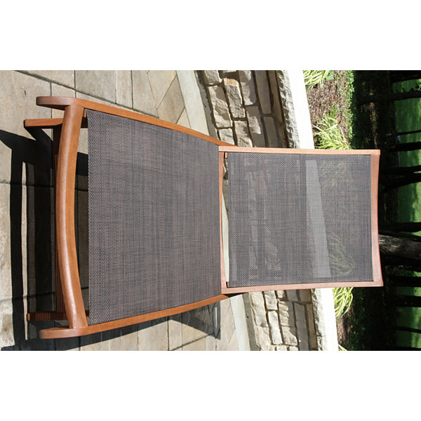 Outdoor Interiors Sling and Eucalyptus Chaise Lounger