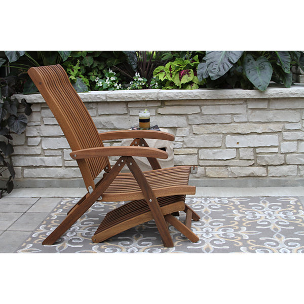 Outdoor Interiors Venetian Recliner - Steamer Lounger with Ottoman in Eucalyptus