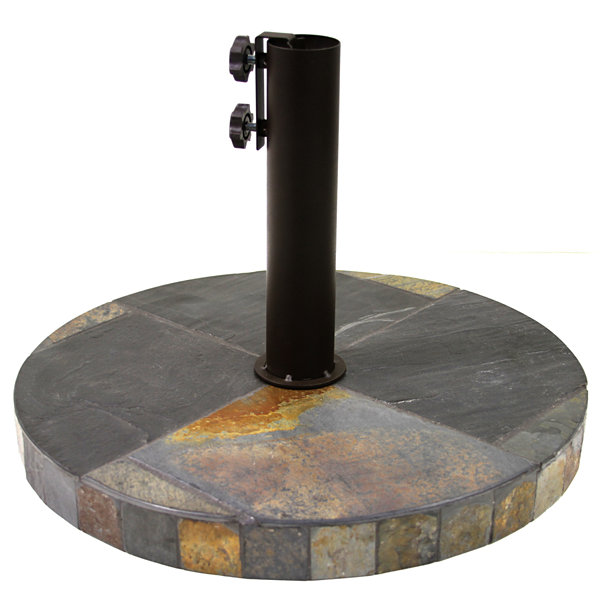 Outdoor Interiors 20 in. Round Rustic Slate Umbrella Base