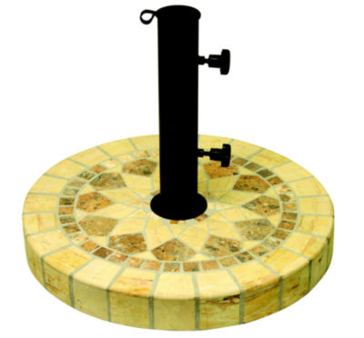Outdoor Interiors 20 in. Round Honeycomb Marble Umbrella Base