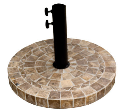 Outdoor Interiors 20 in. Round Brown Marble Umbrella Base
