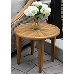 Outdoor Interiors 24 in. Round Natural Teak Lounging Table
