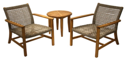 Outdoor Interiors Wicker and Natural Teak Lounge Chair