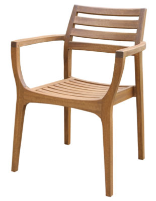 Outdoor Interiors Danish Eucalyptus Stacking Arm Chairs