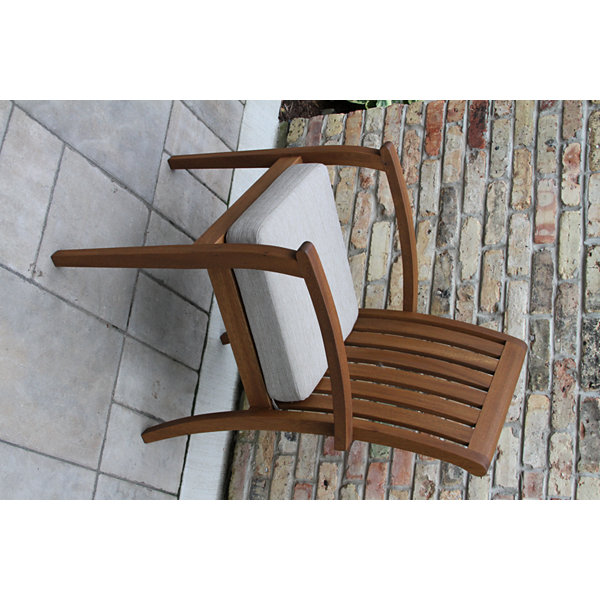Outdoor Interiors Deluxe Eucalyptus Arm Chair withOlefin Cushion