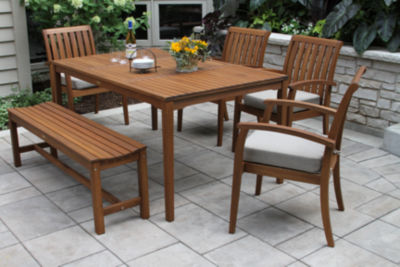 Outdoor Interiors 6pc Eucalyptus Dining Set with Arm Chair and Bench