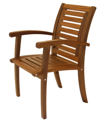 Outdoor Interiors Luxe Arm Chair in Brazilian Eucalyptus