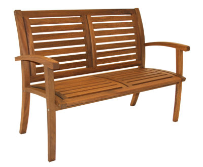 Outdoor Interiors Luxe Bench in Brazilian Eucalyptus