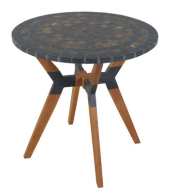 Outdoor Interiors 30 in. Rustic Slate Bistro Tablewith Eucalyptus and Metal Base