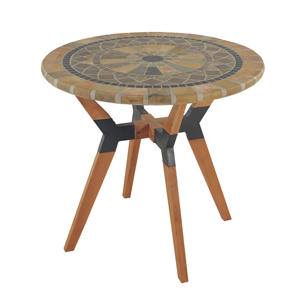 Outdoor Interiors 30 in. Sandstone Bistro Table with Eucalyptus and Metal Base