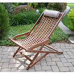 Outdoor Interiors Brazilian Eucalyptus Swing Lounger with Pillow