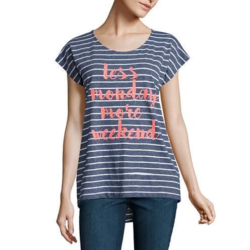 St. John's Bay Short Sleeve Scoop Neck Floral T-Shirt-Womens Petites