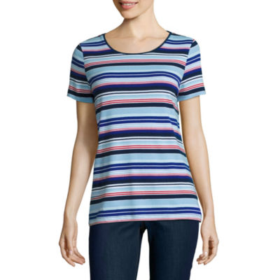 St. John's Bay Short Sleeve Crew Neck Damask T-Shirt-Womens