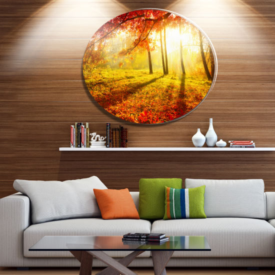 Designart Yellow Red Fall Trees and Leaves Landscape Metal Circle Wall Art