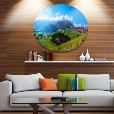 Designart Mountain Landscape Panorama Landscape Metal Circle Wall Art