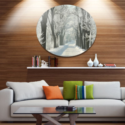 Designart Country Road Between Foggy Trees Large Forest Metal Circle Wall Art