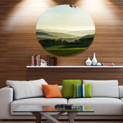 Designart Superb Green Hills in the Fog LandscapeMetal Circle Wall Art
