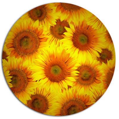 Designart Sunflower Heads Decorative Background Large Floral Metal Circle Wall Art