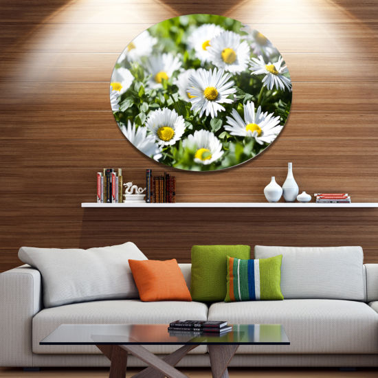 Designart Spring Background with White Flowers Floral Metal Circle Wall Art