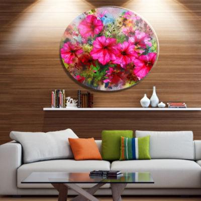 Designart Purple Flowers Composition Watercolor Floral Metal Circle Wall Art