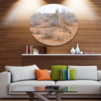 Designart Giraffe Walking through African Forest Animal Metal Circle Wall Art