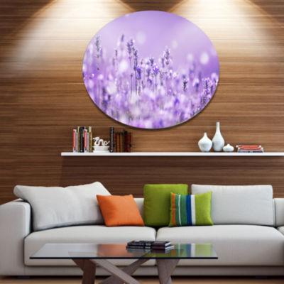 Designart Stunning Purple Lavender Field LandscapeMetal Circle Wall Art