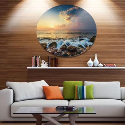 Designart Sunrise and Shining Waves in Sea Large Seashore Metal Circle Wall Art