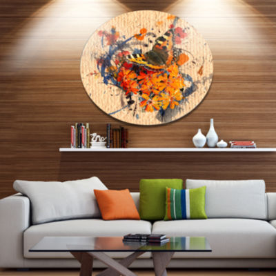 Designart Butterfly andAbstract Paper Floral MetalCircle Wall Art
