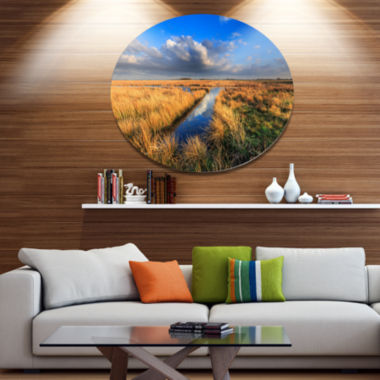 Designart Meadow Land with Beautiful Skyscrapers Landscape Metal Circle Wall Art