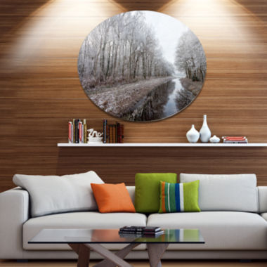 Designart Trees in White Winter Landscape Landscape Metal Circle Wall Art