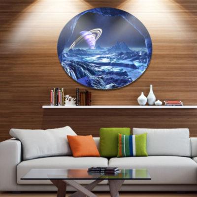 Designart Electric Blue Alien World Landscape Metal Circle Wall Art