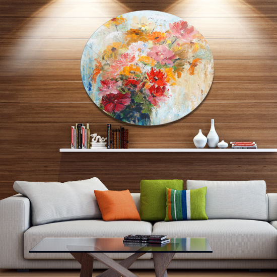 Designart Flowers in Vase Painted Illustration Floral Metal Circle Wall Art