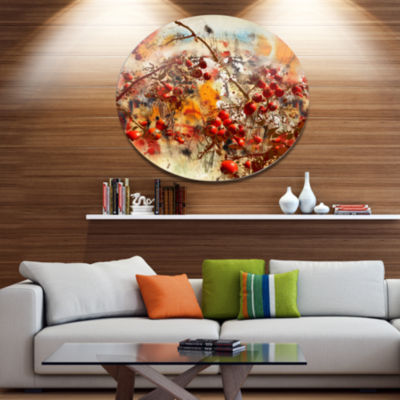 Designart Brier Rose Abstract Background Large Floral Metal Circle Wall Art