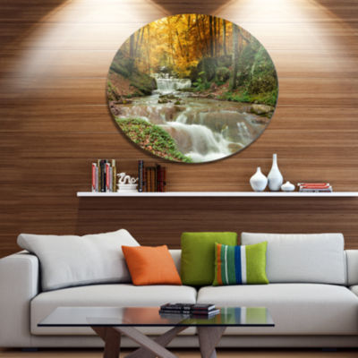 Designart Forest Waterfall with Yellow Trees LargeLandscape Metal Circle Wall Art