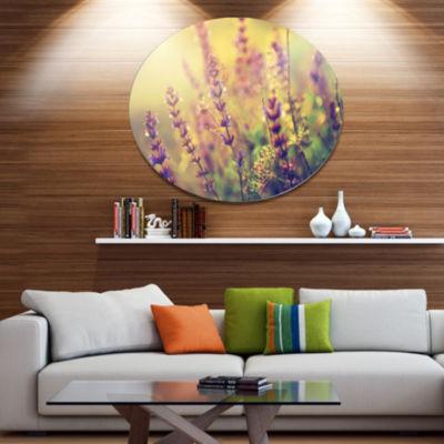 Designart Vintage Photo of Wild Purple Flower Large Floral Metal Circle Wall Art