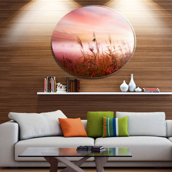 Designart Foggy Land with Early Morning Mist Landscape Metal Circle Wall Art