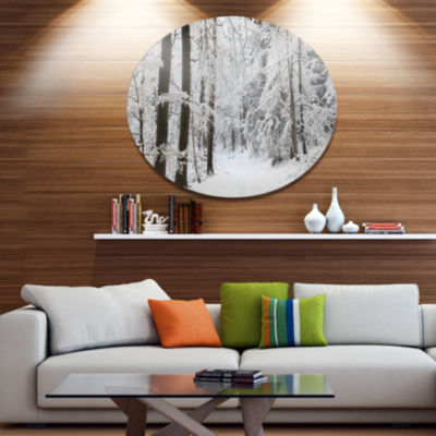 Designart Dense Winter Forest and Lane Large Forest Metal Circle Wall Art