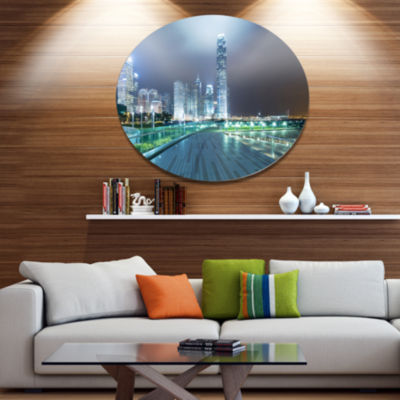 Designart Night Pathway in City Large Cityscape Art Print on Metal Walls