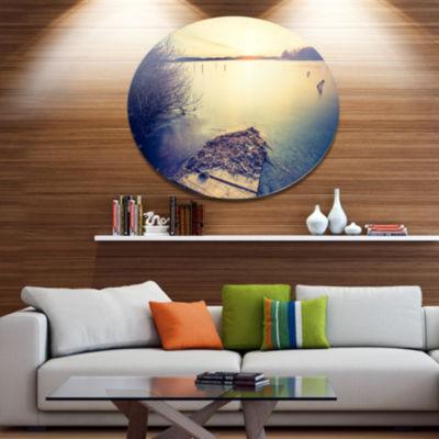 Designart Amazing Sunset over Clam Lake LandscapeMetal Circle Wall Art