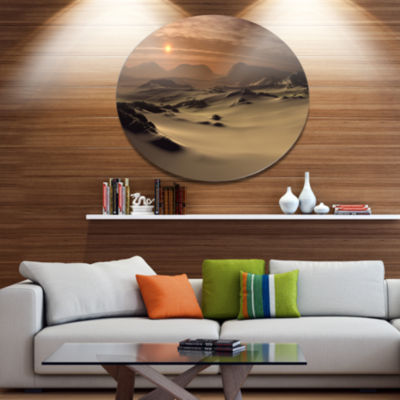 Designart Beautiful Brown Fantasy Terrain Landscape Metal Circle Wall Art