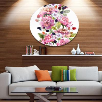 Designart Watercolor Pink Floral Composition Floral Metal Circle Wall Art