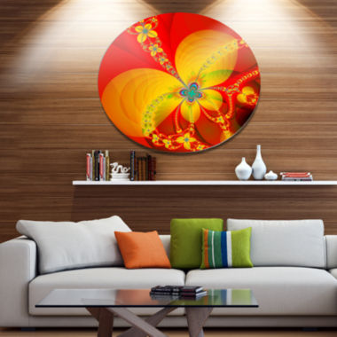 Designart Red Yellow Colorful Fractal Pattern Floral Metal Circle Wall Art